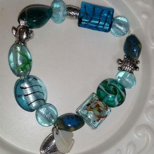 Jewelry - Blue Sea Glass Bead/Silver Stretch Bracelet